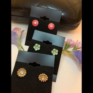 Set of 3- pink, mint, and gold floral earrings